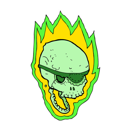 cartoon flaming pirate skull Vector