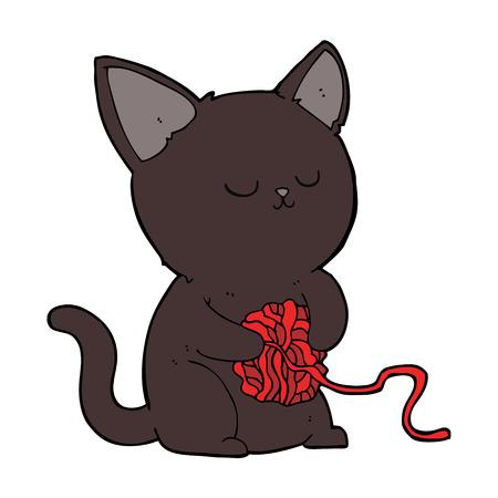 cartoon cute black cat playing with ball of yarn Vector