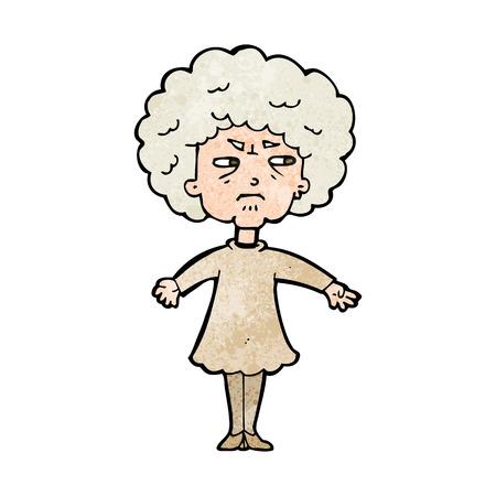 alte frau: Cartoon bittere alte Frau