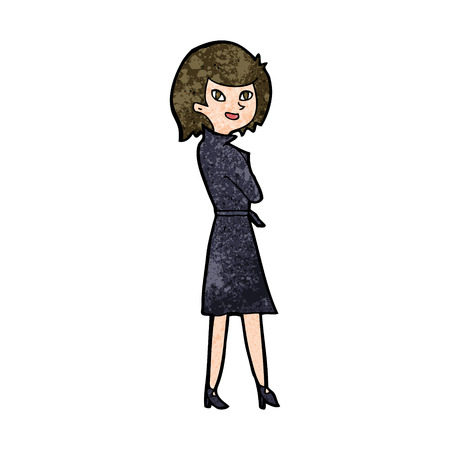 trench: cartoon woman in trench coat Illustration