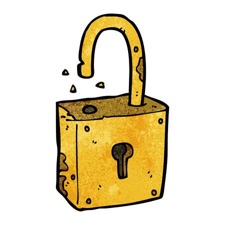 rusty padlock: cartoon rusty old padlock