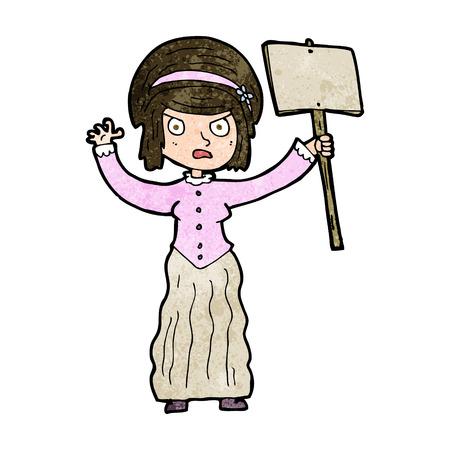 protesting: cartoon victorian woman protesting