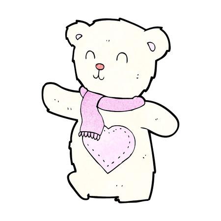 cartoon white teddy bear with love heart Vector