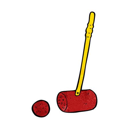 cartoon croquet mallet and ball Vector