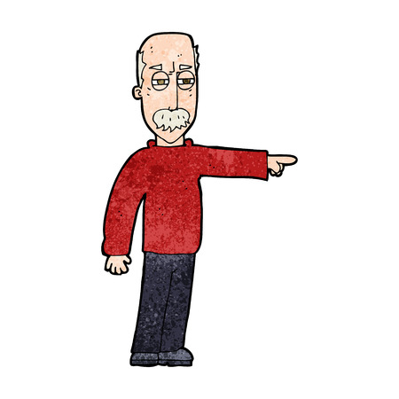 cartoon old man gesturing Get Out! Vector