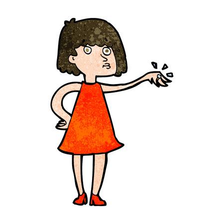 bague de fiancaille: femme de bande dessin�e montrant bague de fian�ailles