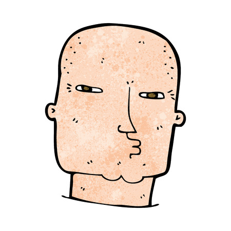 tough: cartoon bald tough guy Illustration