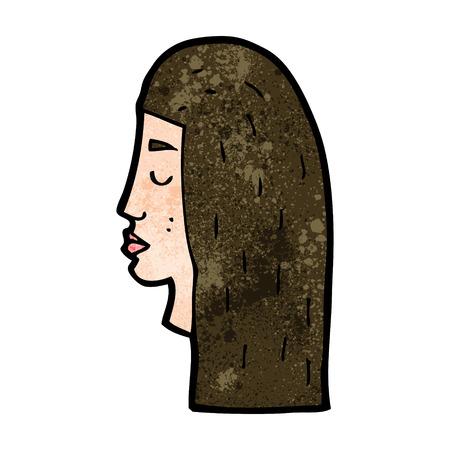 rostro de mujer de perfil: femenina de dibujos animados perfil de la cara Vectores
