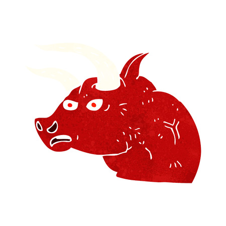 toro arrabbiato: cartone animato testa di toro infuriato Vettoriali
