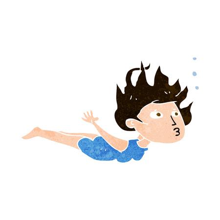 cartoon woman swimming underwater Vector