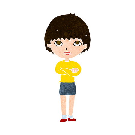 crossed arms: cartoon woman with crossed arms