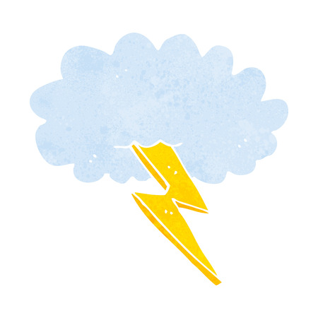 cartoon lightning bolt and cloud Çizim