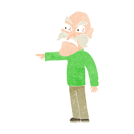 temper: cartoon furious old man Illustration