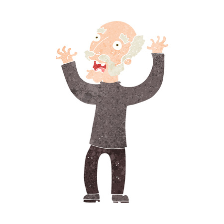 terrified: cartoon terrified old man