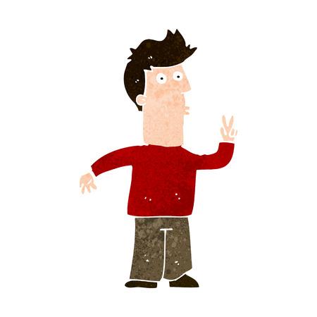 signalering: cartoon man signalering met de hand