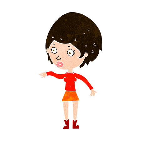 cartoon concerned woman reaching out Illustration