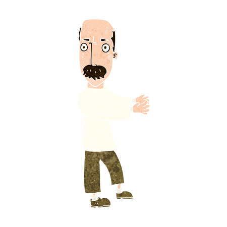 balding: cartoon balding man explaining