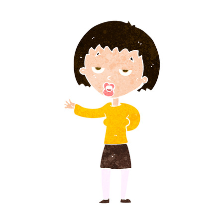 sleepy woman: cartoon bored woman Illustration