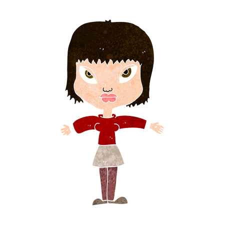 cartoon woman with outstretched arms Vector