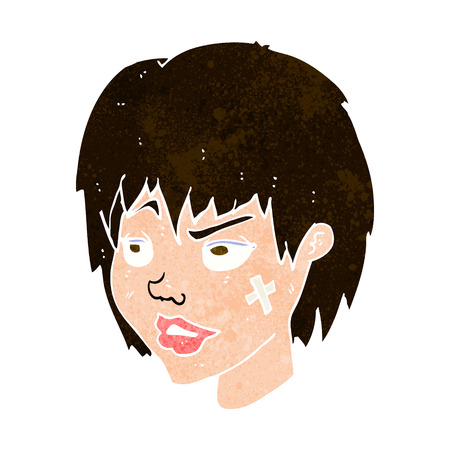 tough girl: cartoon woman with plaster on face