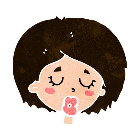 geschlossene augen: Cartoon-Frau mit geschlossenen Augen Illustration