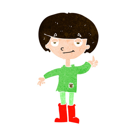 patched up: cartoon boy in poor clothing giving thumbs up symbol
