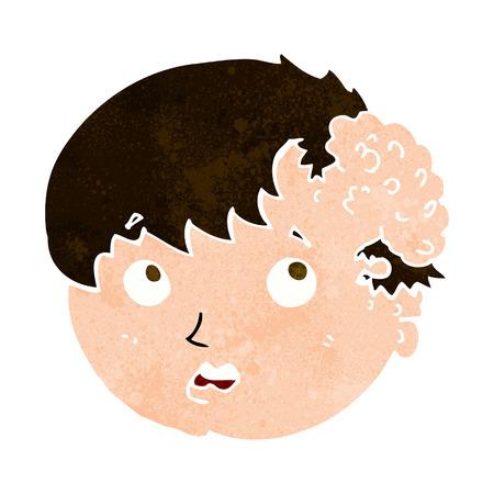 cartoon boy with ugly growth on head Illustration