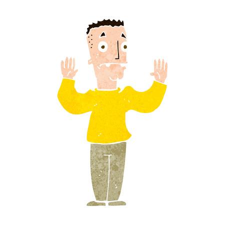 surrendering: cartoon man surrendering