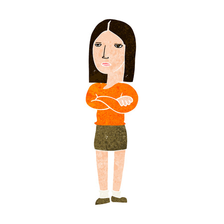 folded hands: cartoon woman with folded arms Illustration