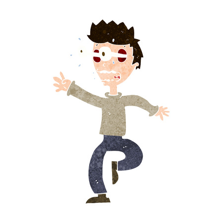 popping: cartoon terrified man with eyes popping out