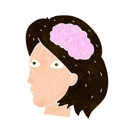 cabeza femenina: cabeza femenina de dibujos animados con el s�mbolo del cerebro