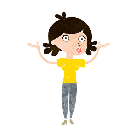 throwing: cartoon woman throwing arms in air