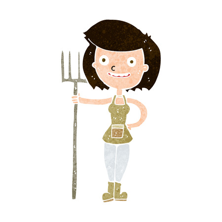 happy farmer: cartoon happy farmer girl