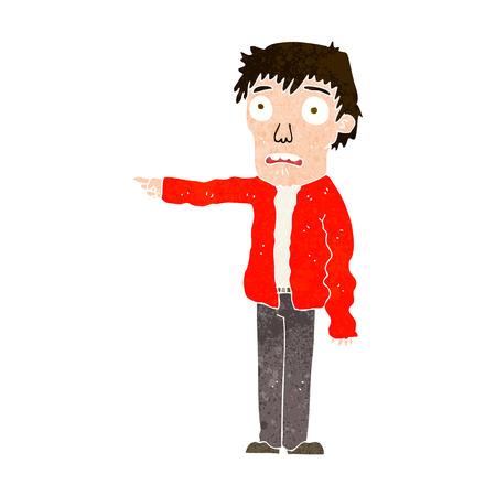 terrified: cartoon terrified man pointing