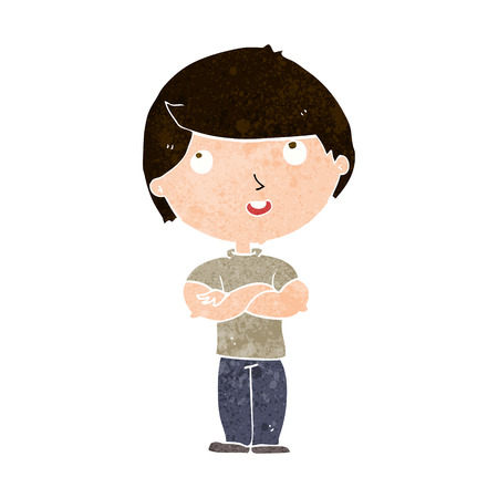 folded arms: cartoon happy man with folded arms Illustration