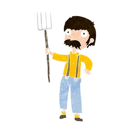 pitchfork: cartoon farmer with pitchfork