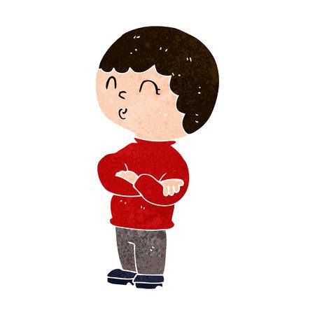 folded arms: cartoon boy with folded arms Illustration