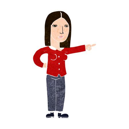 commanding: cartoon woman pointing