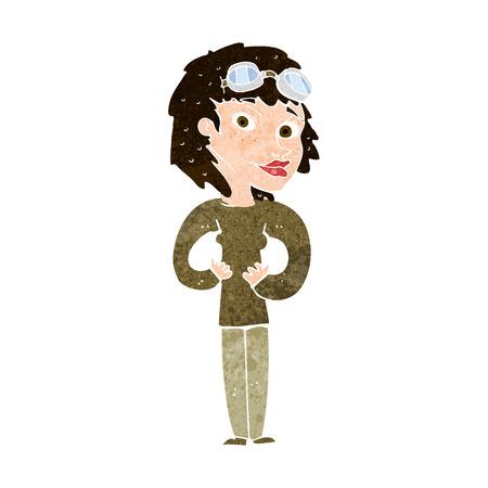 aviator: cartoon aviator woman Illustration