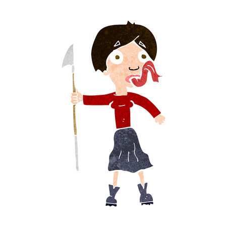 sticking: cartoon woman with spear sticking out tongue Illustration