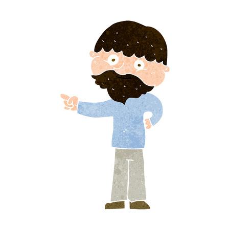 bearded: cartoon bearded man pointing