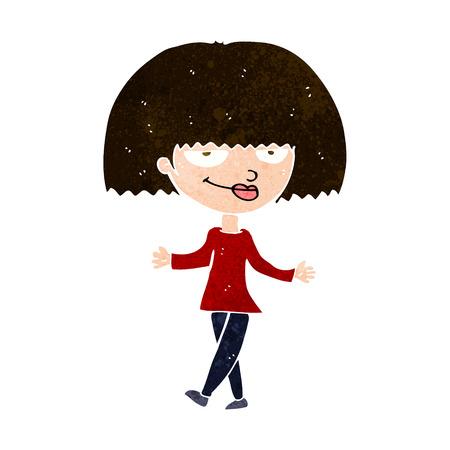 smug: cartoon smug looking woman Illustration