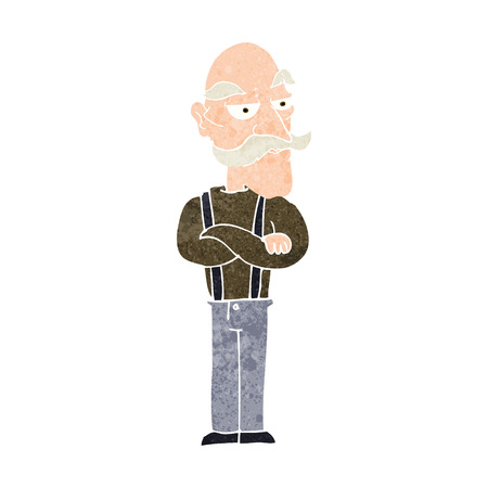 disapproving: cartoon bored old man Illustration