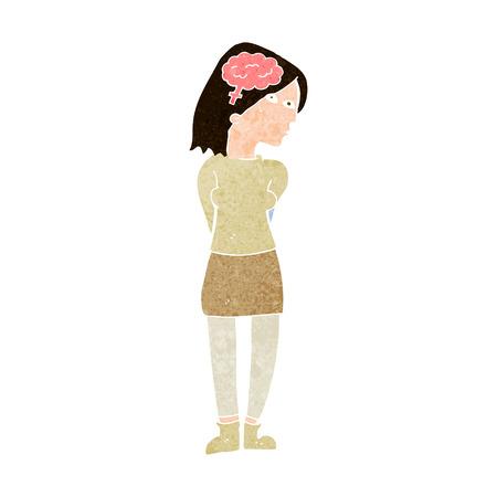 brainy: cartoon brainy woman Illustration