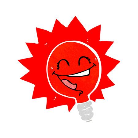 semaforo rosso: felice lampeggiante lampadina rossa del fumetto
