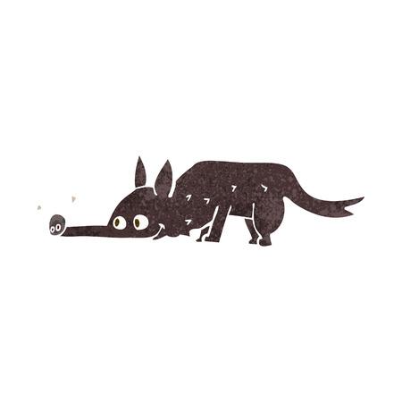 sniffing: cartoon dog sniffing floor Illustration