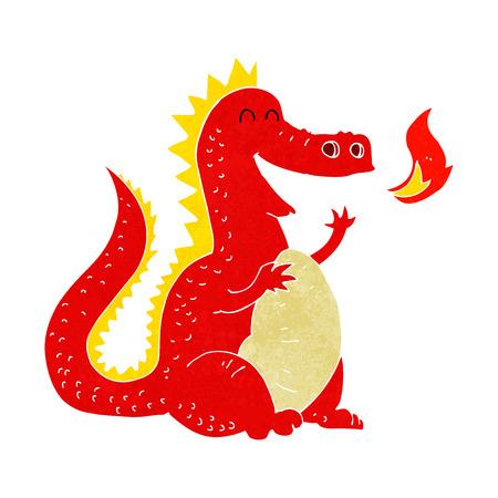 cartoon fire breathing dragon Vector
