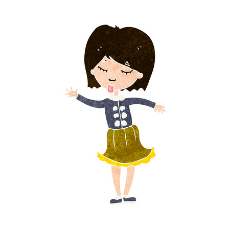 cartoon waving woman Vector