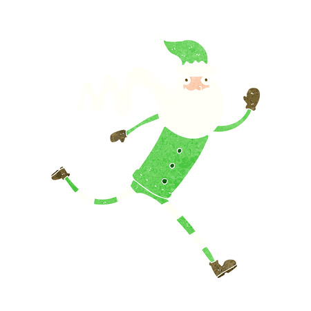 cartoon running santa Vector