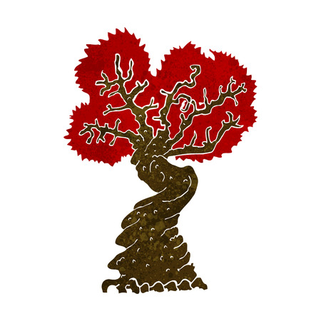 gnarled: cartoon big red old tree